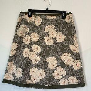 LL BEAN floral A line skirt pockets sz 10 Regular